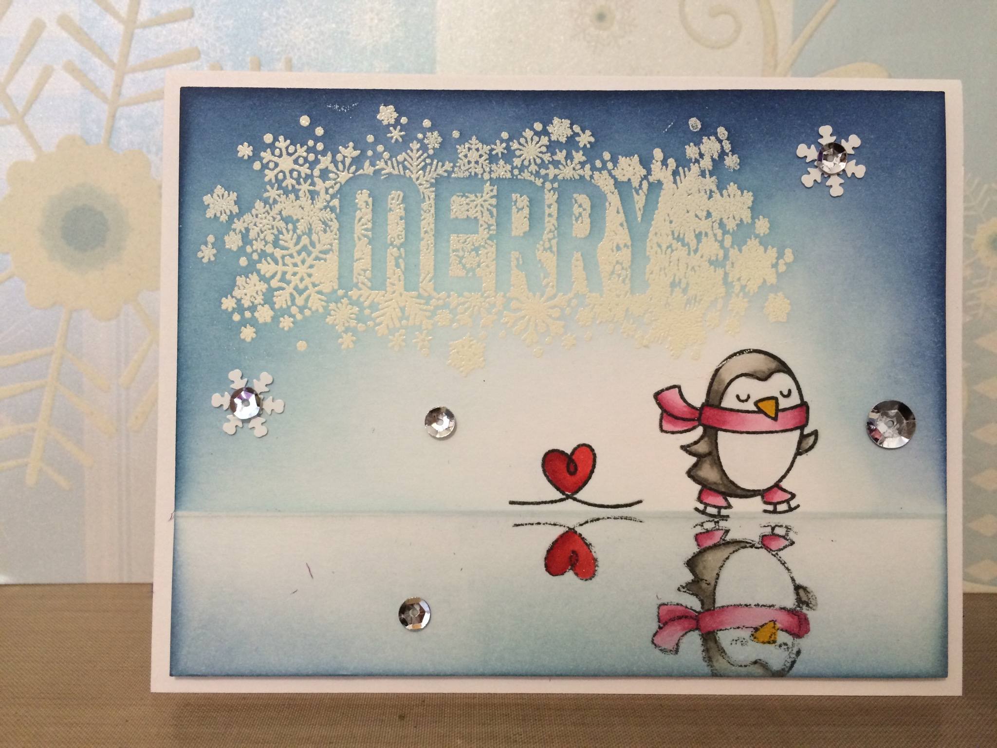 Lawn fawn and stampin up winter penguin enjoyscrappin2 for Penguin christmas cards homemade